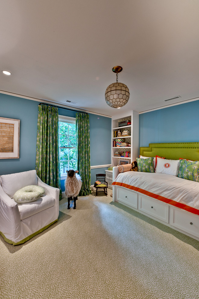 Regina Andrew Lighting Kids Eclectic with Bedroom Blue Bookcase Bright Built in Shelves Ceiling