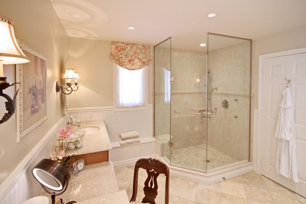Relaxed Roman Shades Bathroom  Traditional With Balloon Shades Beadboard Ceiling Lighting Dressing Table