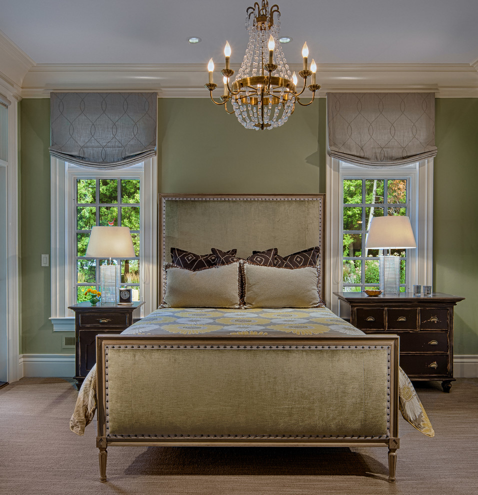 Relaxed Roman Shades Bedroom Traditional with Bed Carpet Chandelier Floral Bedding Moss Green