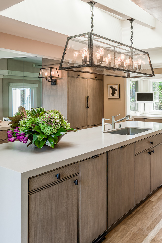 repainting kitchen cabinets Kitchen Transitional with built-in refrigerator Caesarstone Caesarstone countertop Custom Cabinets