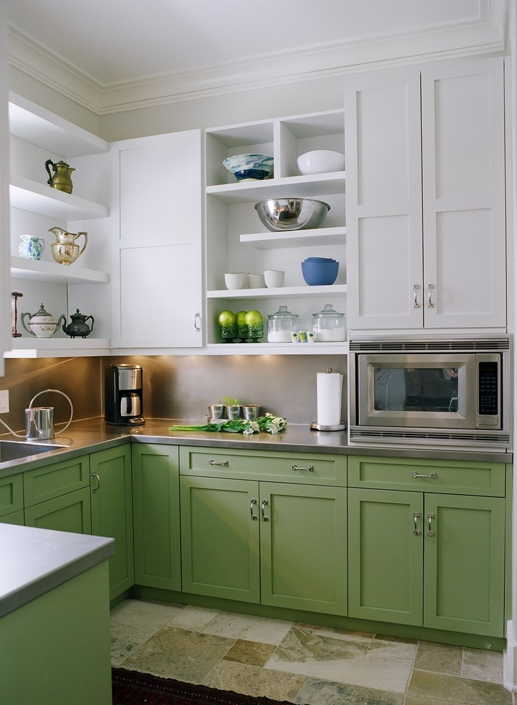 Repainting Kitchen Cabinets Kitchen Transitional with Green and White Cabinets Open Shelves Sage