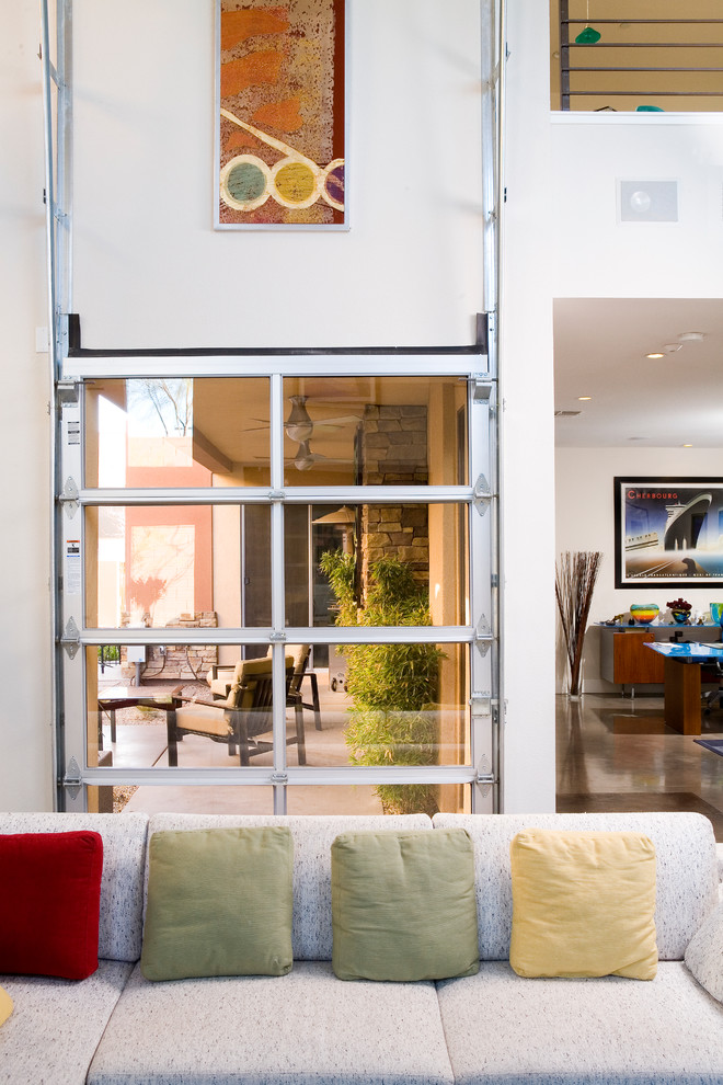 Residential Elevator Cost Patio Contemporary with Artwork Clear Garage Door Colorful Pillows Garage