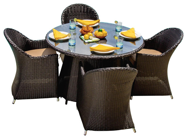 Resin Wicker Furniture with 5 Piece Outdoor Dining Set Outdoor Furniture Patio Furniture