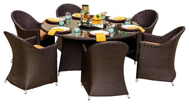 Resin Wicker Furniture with 7 Piece Outdoor Dining Set Large Patio Set Patio