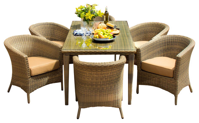 Resin Wicker Furniture with 7 Piece Outdoor Dining Set Outdoor Furniture Patio Furniture