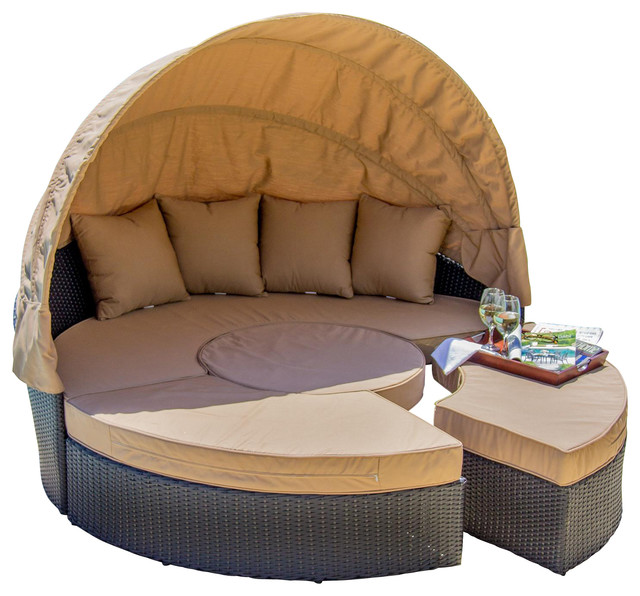 Resin Wicker Furniture with Outdoor Daybed with Canopy Patio Daybed with Canopy Patio