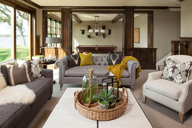 Restoration Hardware Couch Family Room Traditional with Basement Billiards Brown Chesterfield Sofa Coffee Table Contemporary Decorative