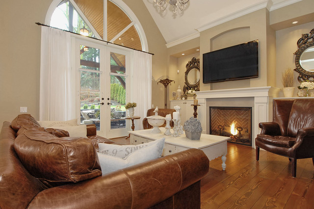 Restoration Hardware Couch Family Room Traditional with Cornice Federal Style Mirrors Fireplace Flat Screen Tv French