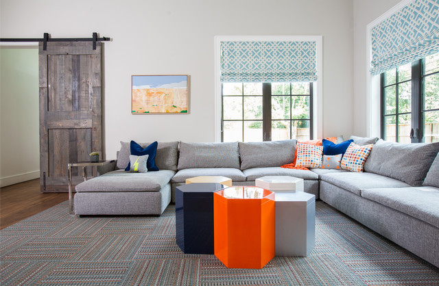 Restoration Hardware Couch Family Room Transitional with Americana Blue and White Roman Shade Bright Coloful Gray