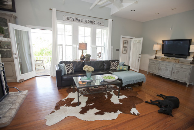 Restoration Hardware Couch Living Room Farmhouse with Antique Signs Antiques Ara Rug Blue and Brown Brown