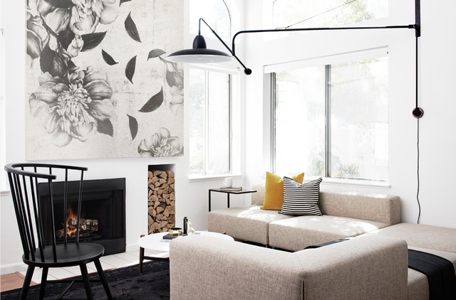 Restoration Hardware Couch Living Room Scandinavian with Black Chair Black Rug Cocktail Table Cushions Fireplace Industrial