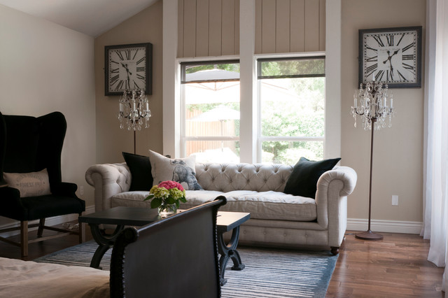 Restoration Hardware Couch Living Room Transitional with Baseboard Beige Walls Black Coffee Table Black Wing Chair