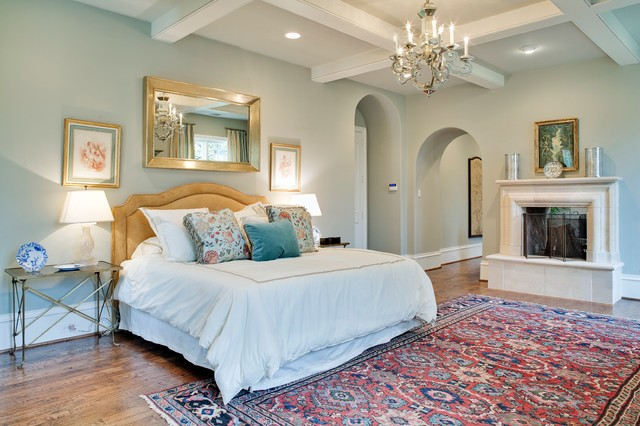 Restoration Hardware Drapes Bedroom Traditional with Arched Entry Beige Headboard Chandelier Coffered Ceiling Gold Mirror