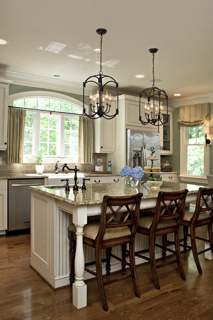 Restoration Hardware Drapes Kitchen Traditional with Beadboard Breakfast Bar Distressed Finish Eat in Kitchen Green