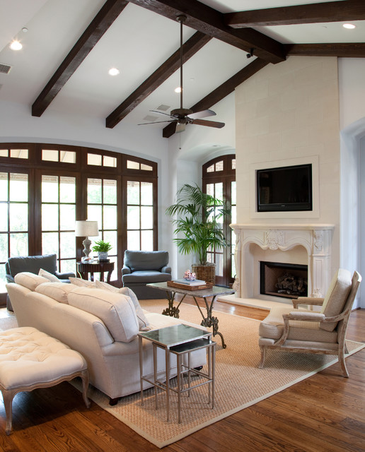 Restoration Hardware Sofa Living Room Traditional with Arched Window Beige Armchair Beige Bench Beige Side Chair