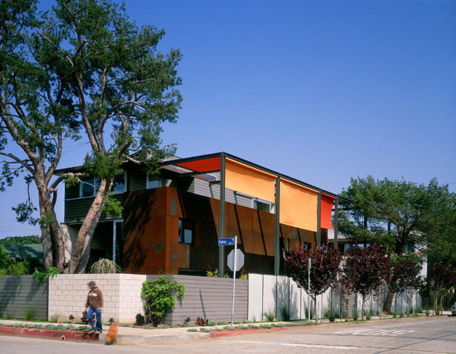 Retractable Awning Exterior Industrial with Balcony Corten Geometric Geometry Orange Overhang Red Rust Sidewalk