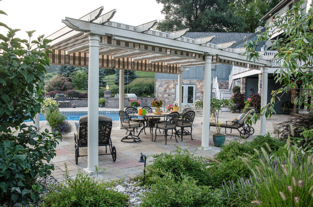 Retractable Gate Patio Traditional with Backyard Outdoor Dining Outdoor Furniture Pavers Pebbles Pergola Sunflowers