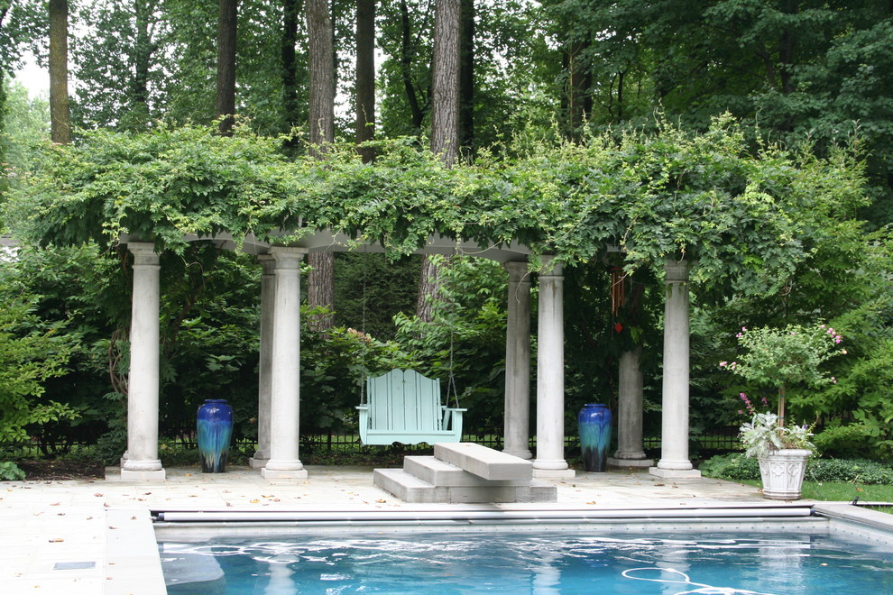 Retractable Pool Cover Landscape Traditional with Climbing Plants Columns Container Plants Decorative Garden