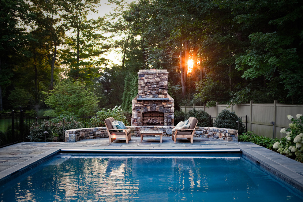 Retractable Pool Cover Pool Traditional with Blue Pool Outdoor Fireplace Patio Patio Furniture
