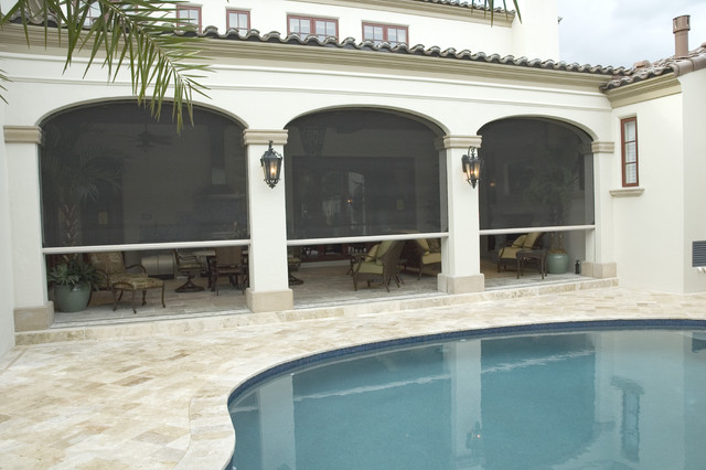 Retractable Screens Pool Mediterranean with Building Aesthetics Clear View Ventilation Covered Outdoor Spaces Custom