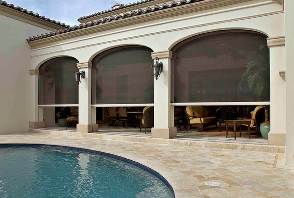 Retractable Screens Pool Mediterranean with Building Aesthetics Clear View Ventilation Covered Outdoor Spaces Custom1