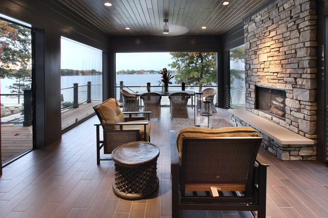Retractable Screens Porch Contemporary with Accent Table Brown Seat Cushions Deck Hearth Bench Lake