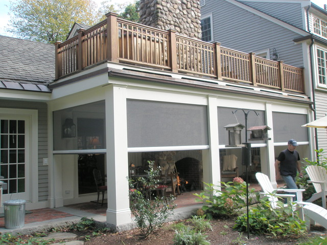 retractable screens Porch Traditional with building aesthetics clear view ventilation covered outdoor spaces custom