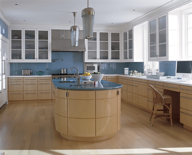 Reverse Osmosis Faucet Kitchen Contemporary with Barstool Blue Backsplash Ceiling Light Curved Kitchen Island Frosted
