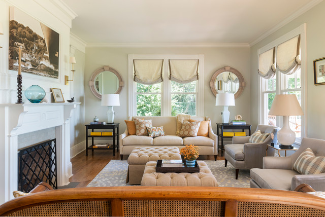 Rhodes Furniture Living Room Beach with Accessories Area Rug Coastal Cottage Custom Fireplace Screen Linen