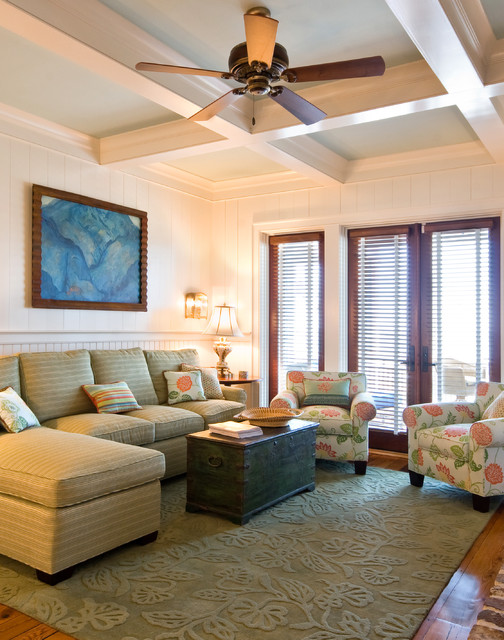 Rhodes Furniture Living Room Traditional with Ceiling Fan Club Chairs Coffered Ceiling French Doors Painted