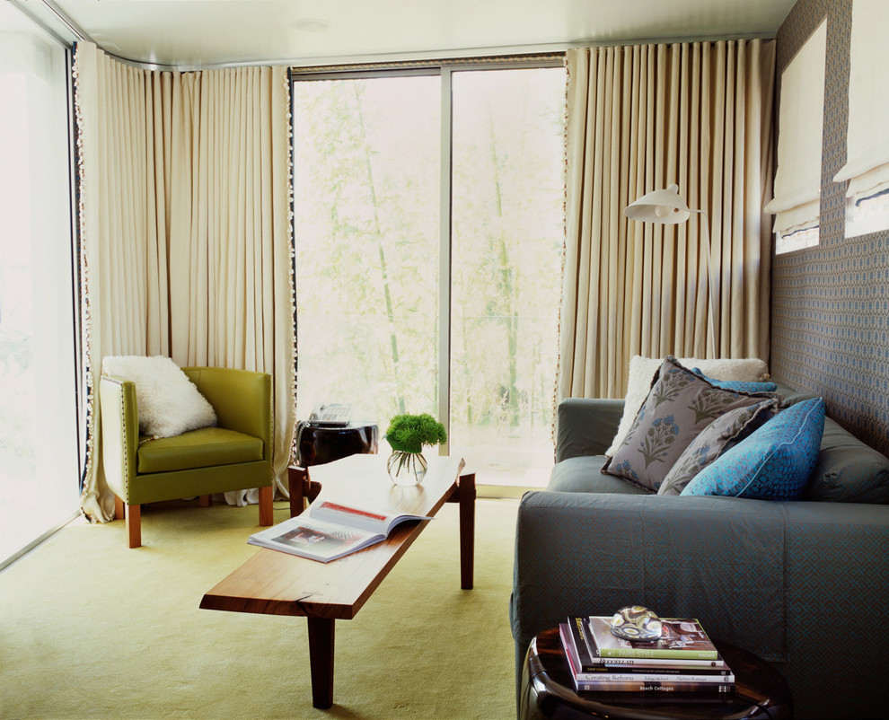 Ripplefold Drapery Living Room Contemporary with Accent Wall Curtains Decorative Pillows Drapes Fabric