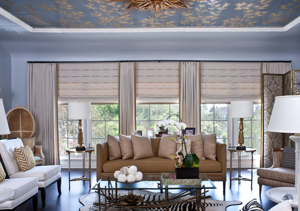 Ripplefold Drapery Living Room Transitional with Baseboards Ceiling Treatment Curtains Dark Floor Decorative