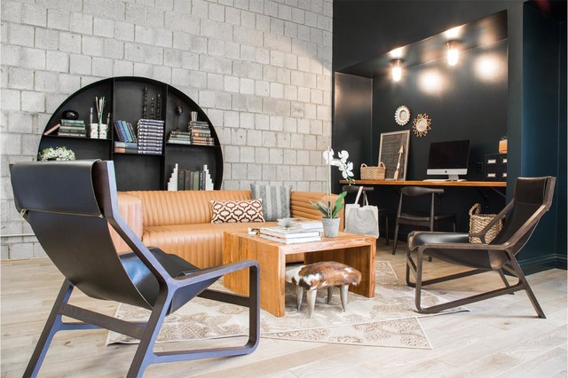 Rizzy Rugs Family Room Industrial with Bookshelves Built in Shelves Chairs Coffee Table Concrete Tile