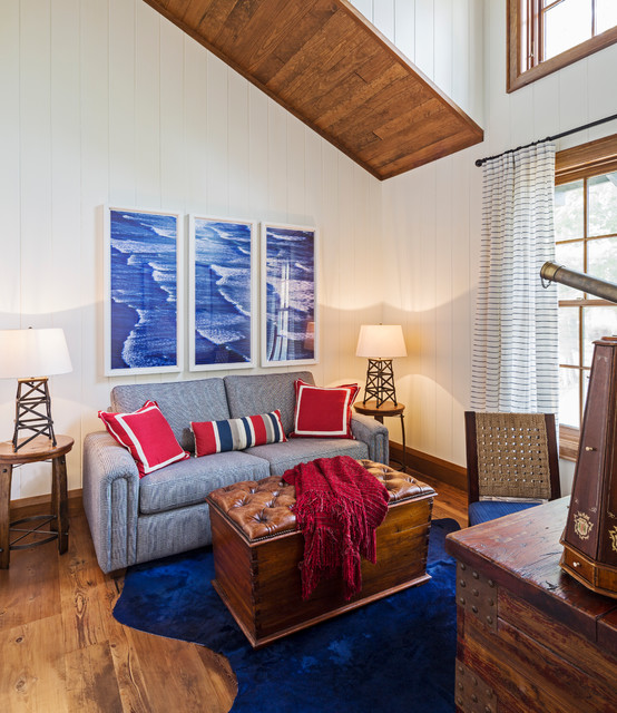 Rizzy Rugs Home Office Beach with Blue Couch Blue Rug High Ceiling Red Pillows Red