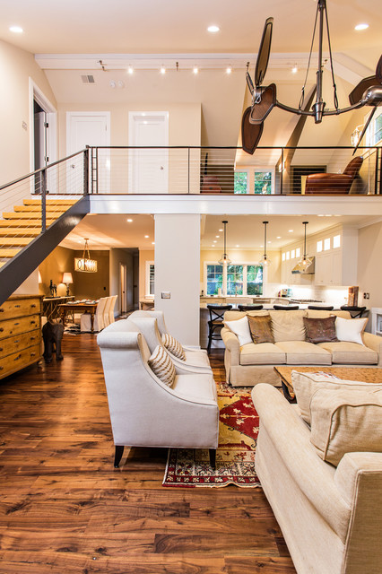 Rizzy Rugs Living Room Traditional with Beige Armchairs Beige Sofa Cable Railing Ceiling Fan Charleston