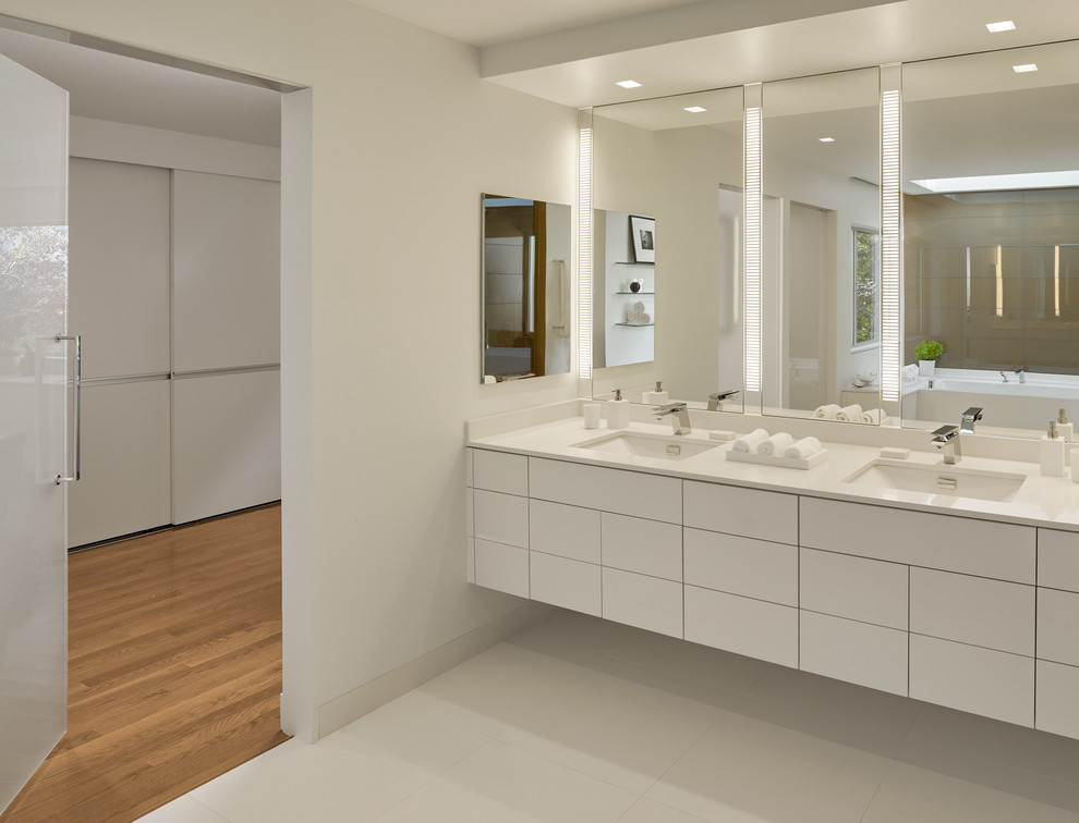 Robern Medicine Cabinet Bathroom Contemporary with Boyd Lighting Caesarstone Coutertop Cantilevered Vanity Chrome
