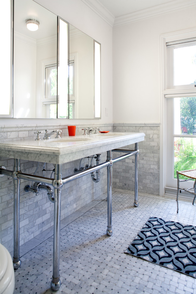 Robern Medicine Cabinet Bathroom Traditional with Bathroom Chrome Sink Dining Room Exposed Beams
