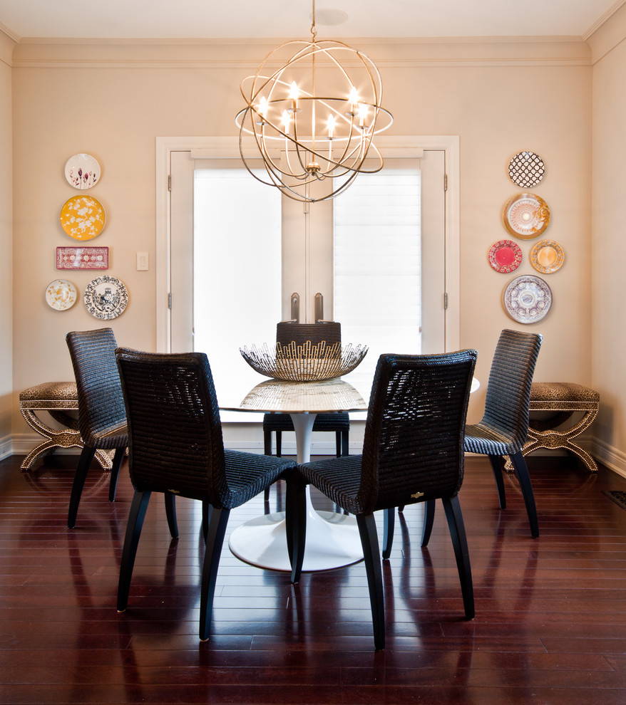 Robert Abbey Bling Chandelier Dining Room Contemporary with Animal Print Breakfast Nook Crown Molding Dark