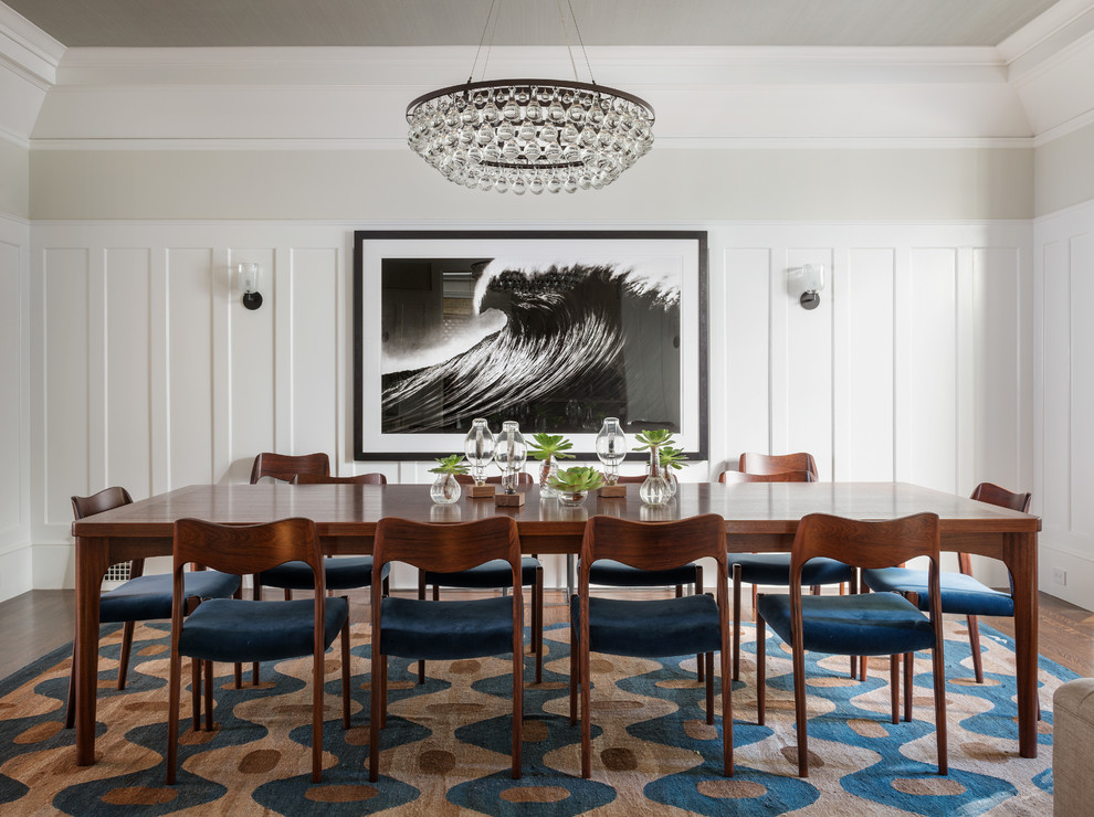 Robert Abbey Bling Chandelier Dining Room Transitional with Beige Wall Black and White Photograph Blue