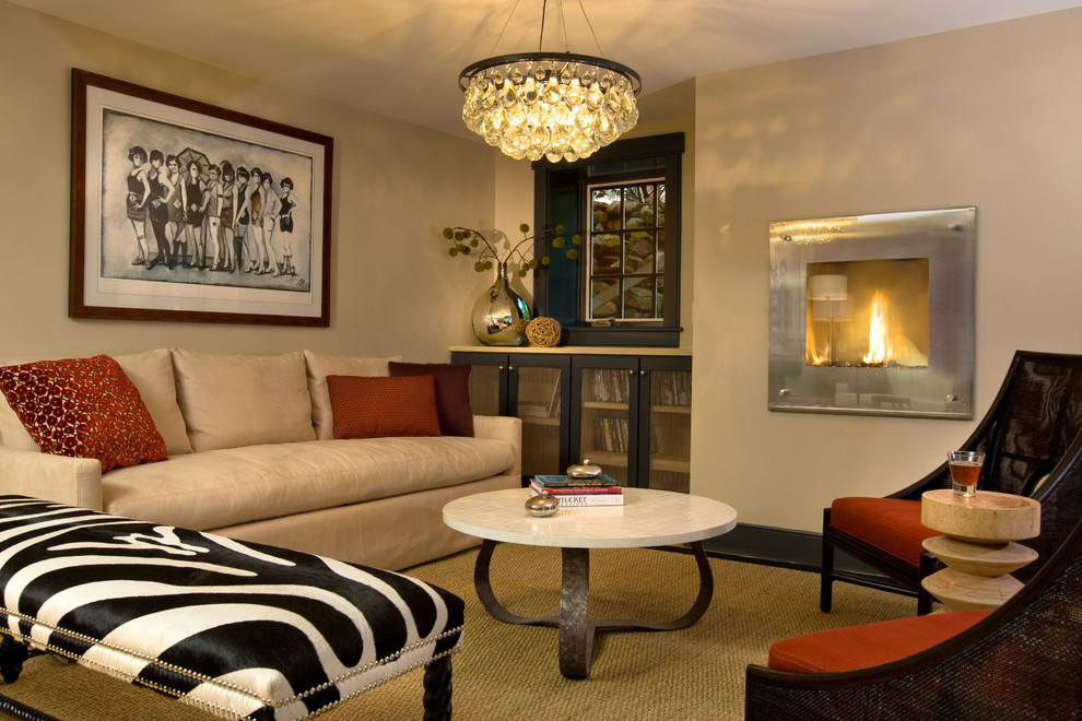 Robert Abbey Bling Chandelier Living Room Contemporary with Crystal Pendant Fireplace Jute Marble Coffee Table