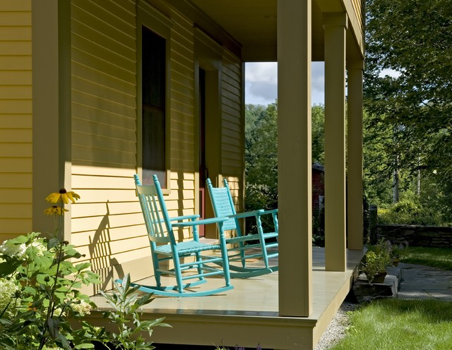 rocker glider chair Porch Farmhouse with deck entrance entry farmhouse painted furniture patio furniture rocking