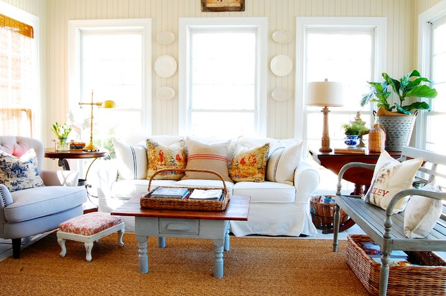 Rockers and Gliders Family Room Shabby Chic with Accent Pillows Area Rug Bead Board Bench Blue Willow