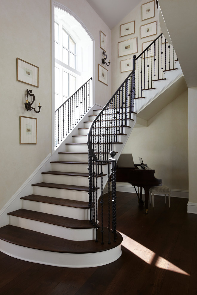 Rod Iron Railing Staircase Traditional With Arch Window