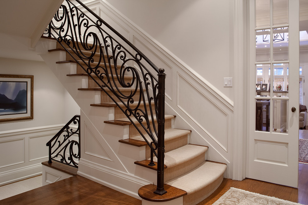 Rod Iron Railing Staircase Traditional with Area Rug Carpeted Staircase Dark Wood Floor