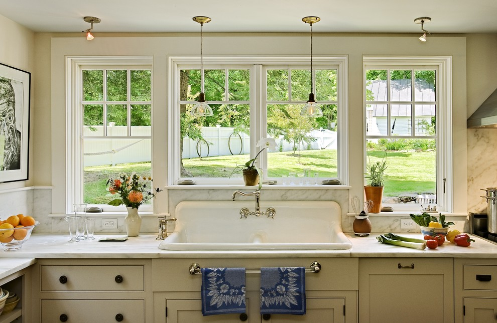 Rohl Sinks Kitchen Traditional with Glass Pendants Marble Backsplash Marble Countertop Painted