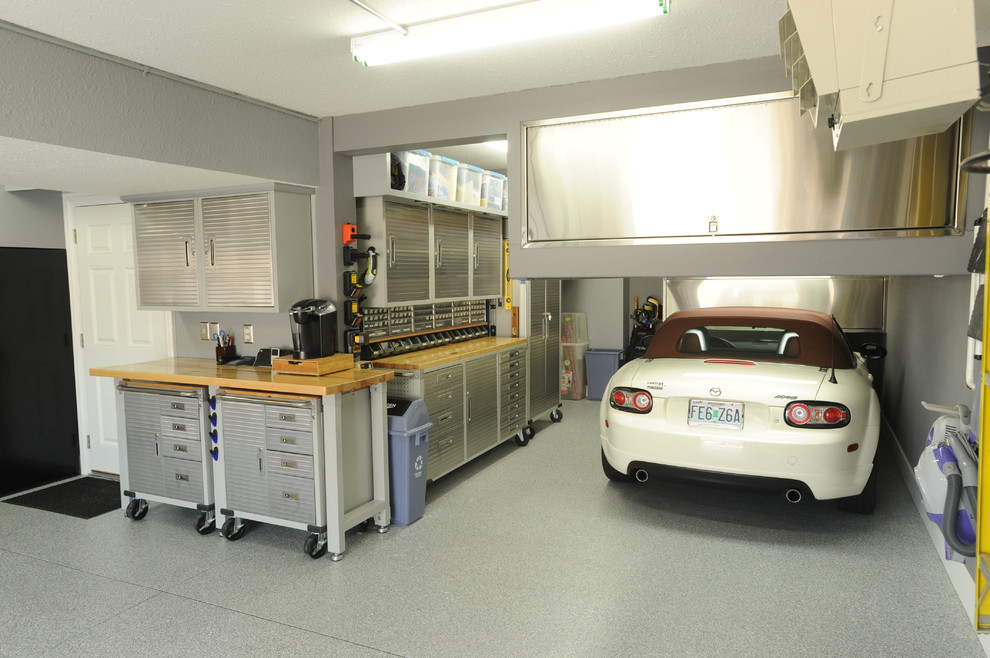 Rolled Arm Bench Garage and Shed Modern with Accessories Built in Built in Cabinetry Cabinets Clean