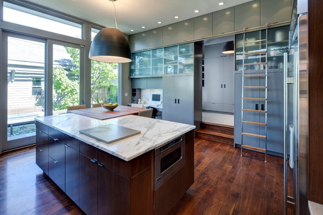 Rolling Ladders Kitchen Contemporary with Aluminum Windows Butcher Block Dark Stained Wood Gray Cabinets