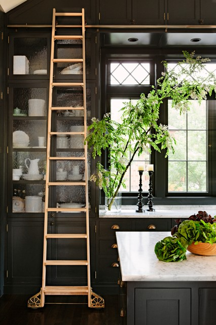 Rolling Ladders Kitchen Craftsman with Brass Pulls Carrarra Custom Ladder on Rail General Contractor