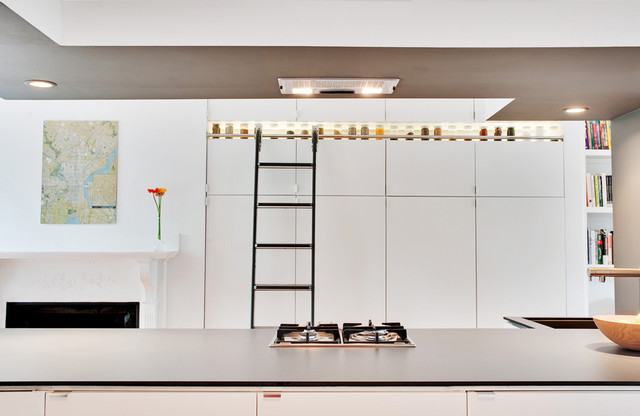 Rolling Library Ladder Kitchen Contemporary with Bookcase Bookshelves Display Shelves Drop Ceiling Fireplace Surround Food