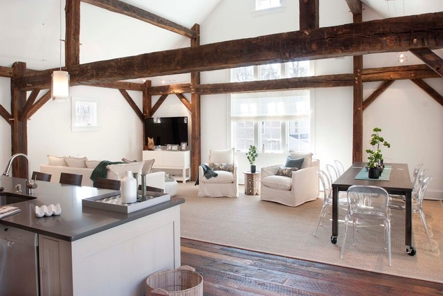 Rolling Scaffold Living Room Farmhouse with Acrylic Dining Chair Barn Restoration Cable Lighting Clear Dining